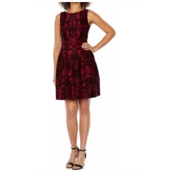 Danny & Nicole Dresses & Skirts - Flocked Velvet Floral Fit & Flare Dress Size 10